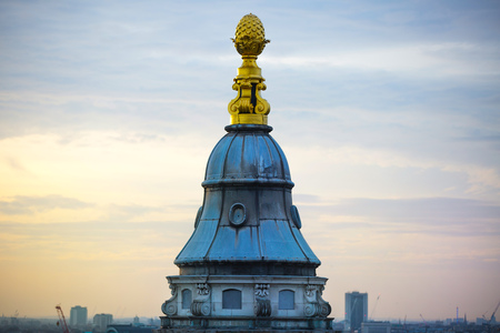 St. Pauls cathedral chapel gilded top against sunset, London