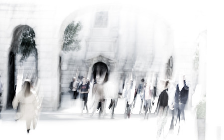 urban people: Business people blur. People walking in the City of London, business and financial aria