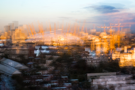 effect sunset: Multiple exposure effect image of London at sunset
