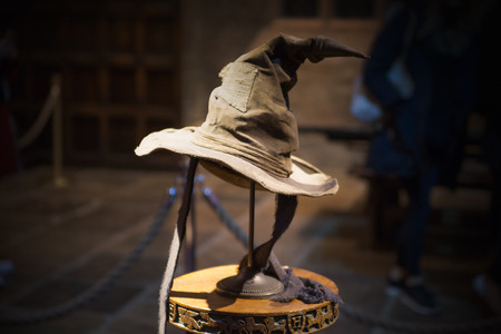 Leavesden, London, UK - 1 March 2016: Costumes display. Sorting hat Sajtókép