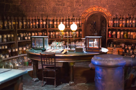 Leavesden, London, UK - 1 March 2016: Interior of professor Snape magic jags collection. Decoration Warner Brothers Studio for Harry Potter film Editoriali