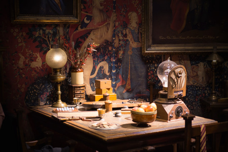harry: Leavesden, London, UK - 1 March 2016: Interior of professor Snape magic jags collection. Decoration Warner Brothers Studio for Harry Potter film Editorial