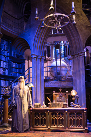 Leavesden, London, UK - 1 March 2016: Interior of Dumbledore office and Professors costume. Decoration Warner Brothers Studio for Harry Potter film Editorial