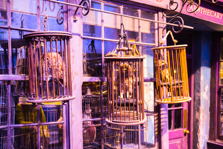 harry: Leavesden, London, UK - 1 March 2016: Magic shops  windows display in Diagon Alley from Harry Potter film. Warner Brothers Studio Editorial