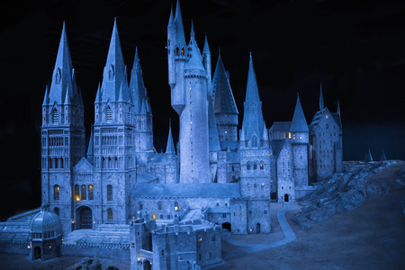 "massive: Leavesden, London, UK - 1 March 2016: Plastic model of Hogwarts School of Witchcraft and Wizardry. Model sits in Warner Brothers Studio London and open for show under the ""Making Harry Potter film"" tour"