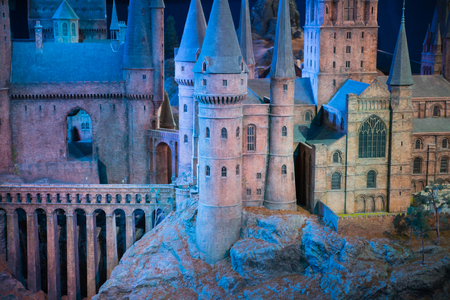 wizardry: Leavesden, London, UK - 1 March 2016: Plastic model of Hogwarts School of Witchcraft and Wizardry. Model sits in Warner Brothers Studio London and open for show under the �Making Harry Potter film� tour