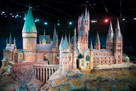 Leavesden, London, UK - 1 March 2016: Plastic model of Hogwarts School of Witchcraft and Wizardry. Model sits in Warner Brothers Studio London and open for show under the �Making Harry Potter film� tour