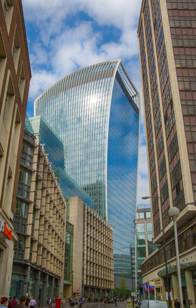 LONDON, UK - 17 may, 2016: Walkie-Talkie office block view with sky reflection. City of London business aria. Editorial