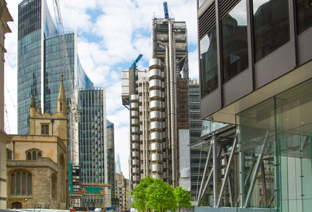 capital building: LONDON, UK - 17 May, 2016: Lloyds of London, bank building in the City of London. Modern business life of capital