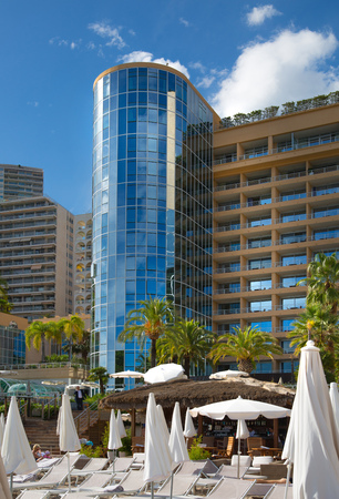 Monaco, Monte Carlo - September 15, 2016: Le Meridien Beach Plaza hotel view with beach view