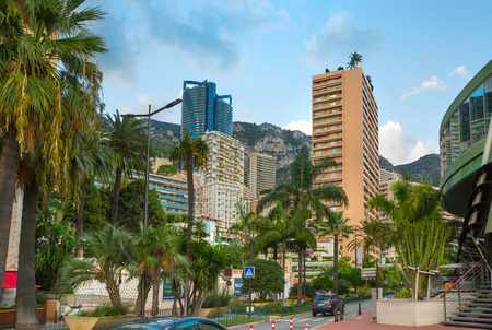 Monaco, Monte Carlo - September 15, 2016: City of Monte Carlo street view. Road junction and residential buildings with luxury apartments