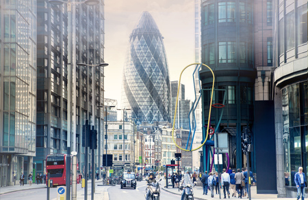 doubledecker: LONDON, UK - 17 may, 2016: City of London street with Gherkin building view, red double-decker buses and walking people.