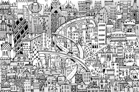 Modern city illustration with a lots of detailed buildings, bridges, roads and cars