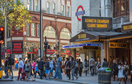 regent: London, UK - August 24, 2016:  Leicester square with lots of people, tourists and Londoners.