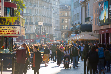 London, UK - August 24, 2016:  Leicester square with lots of people, tourists and Londoners