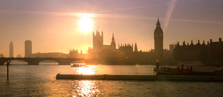 Big Ben and Houses of Parliament at sunset. London Stock Photo
