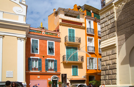 mediterranian houses: Monaco, Monte Carlo - September 16, 2016: Luxury apartments in Rock of Monaco.  Rue Comte Félix Gastaldi the street leads to the palace of Monaco.