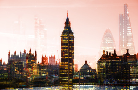 Big Ben and Houses of Parliament at sunset, Multiple exposure image with night lights reflections.