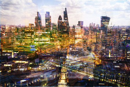 City of London at sunset, Multiple exposure image with night lights reflections.