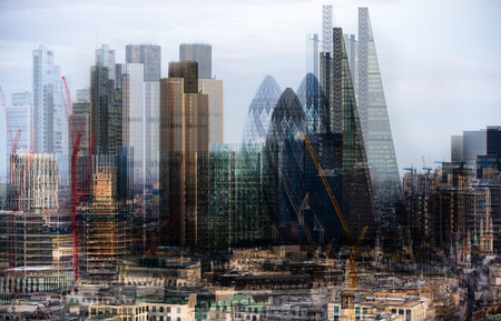arhitecture: City of London at night. Multiple exposure image