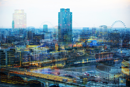 City of London at night. Multiple exposure image