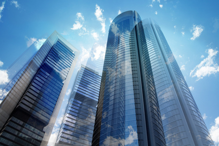 Skyscrapers of Madrid, multiple exposure image. Business concept