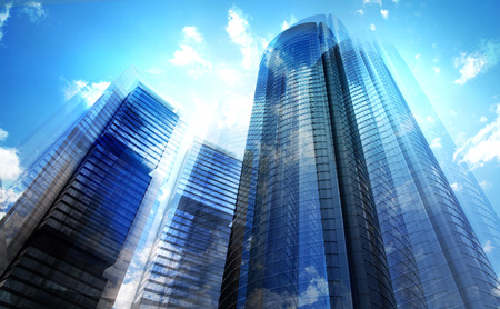 Skyscrapers of Madrid, multiple exposure image. Business consept