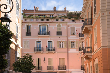 Monaco, Monte Carlo - September 16, 2016: Residential buildings with luxury apartments in the Rock of Monaco, aria locates next to Prince of Monaco Palace