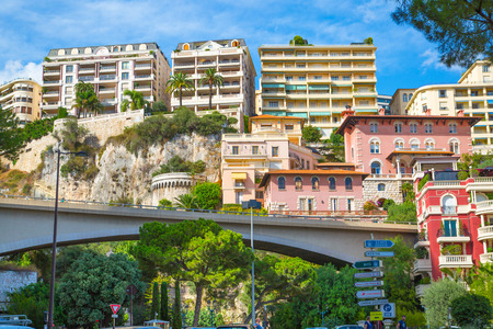 Monaco, Monte Carlo - September 16, 2016: City of Monte Carlo view, residential buildings raised on mountains. Editorial