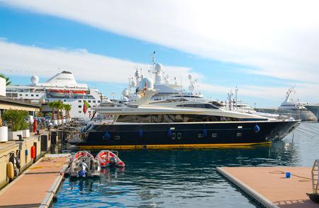 Monaco, Monte Carlo - September 16, 2016: Walk pass by Port Hercule City of Monte Carlo Editorial