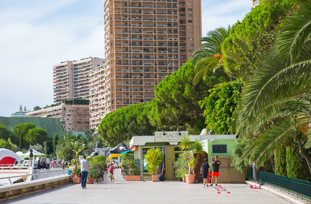 Monaco, Monte Carlo - September 17, 2016:  Princesse Grace avenue view with apartments buildings at sea front line