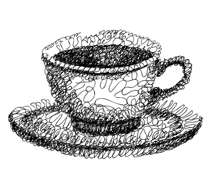 Abstract cup of coffee, doodle design element. Stock Photo