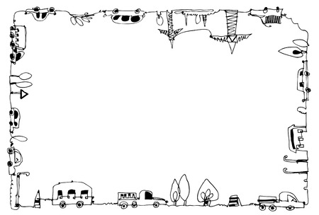busses: Decorative frame with cars, busses, lorries and industrial units. City concept. Doodle illustration Stock Photo