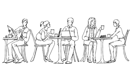 Business people at lunch break in cafe, talking and working with laptops. Doodle illustration Stock Photo