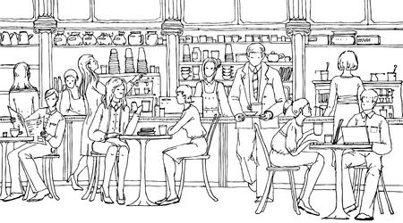 mucha gente: Gente de negocios en la hora del almuerzo en el café, hablando y trabajando con ordenadores portátiles. Doodle ilustración