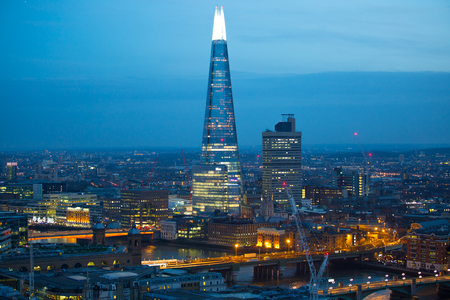 London, UK - 19 December, 2016: London at night, view from st. Pauls cathedral. Shard of Glass