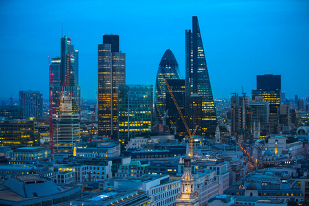 st pauls: London, UK - 19 December, 2016: London at night, view from st. Pauls cathedral. Streets of financial aria City of London. Stock Photo