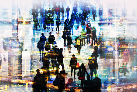 Lots of walking people.  Multiple exposure image. Business concept illustration. London Imagens