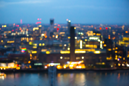 London, UK - December 19, 2015: London at sunset with lights and reflection