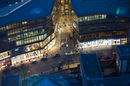 London, UK - 19 December, 2016: London at night, view from st. Pauls cathedral. Streets and lit up shops windows