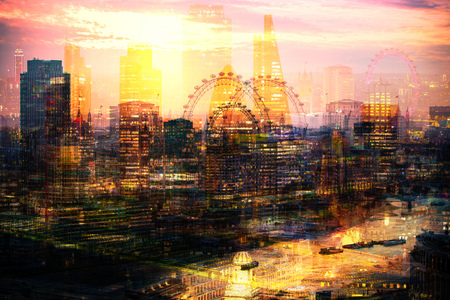 City of London at night. Multiple exposure image includes Walkie-Talkie building, City of London financial aria, London eye, River Thames at sunset
