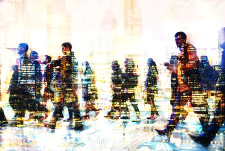 paso de peatones: Un montón de gente de negocios a pie. Imagen de exposición múltiple. Ilustración del concepto de negocio. Londres