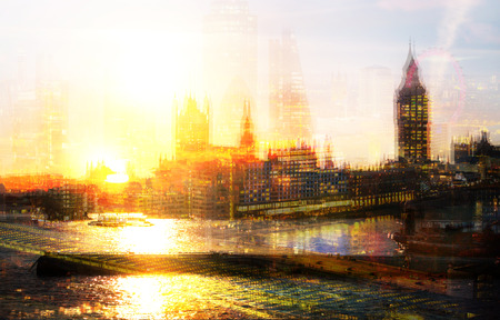City of London at night. Multiple exposure image includes Big Ben, City of London financial aria, River Thames at sunset