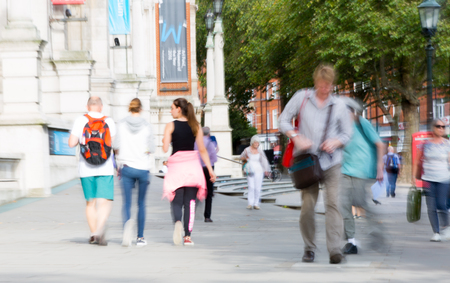 knightsbridge: Blurred image of people walking in the Knightsbridge. Modern life concept. London Stock Photo