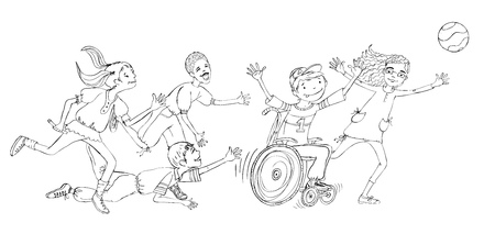 child sport: Group of children, include the boy in the wheel chair during the sport activities, running and enjoying themselves. Illustration Stock Photo