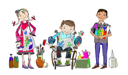 child drawing: Group of children, include the boy in the wheel chair during the art lesson, drawing and enjoying activities. Illustration