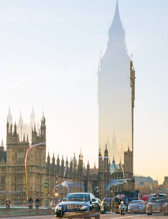 include: London, UK - November 30, 2016:  Multiple exposure image of beautiful morning on the Westminster bridge with blur of walking people. View include Big Ben and Houses of Parliament.