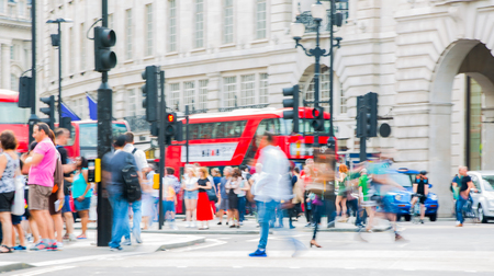 oxford street: London, UK - August 24, 2016: Lots of people walking in Oxford street, the main destination of Londoners for shopping. Modern life concept Editorial