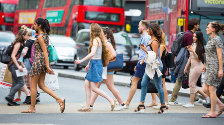 regent: London, UK - August 24, 2016: Lots of people walking in Oxford street, the main destination of Londoners for shopping. Modern life concept Editorial