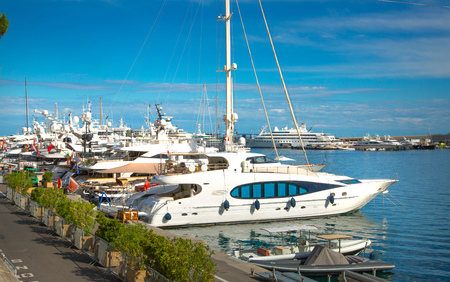 Monaco, Monte Carlo - September 16, 2016: Private yachts and sailing boats in the Port Hercule in City of Monaco